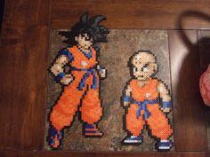 Goku and Krillin  perler bead sprites by FullMetal6 on deviantART