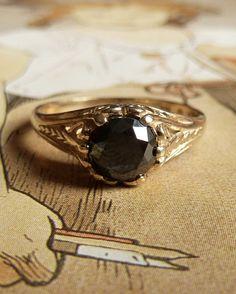 Into the black and grey diamonds. Art Nouveau Style Black Diamond Ring by Kate Szabone on Etsy
