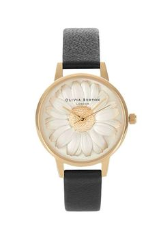 Embody classic chic with this watch by Olivia Burton. Crafted with a simple design, it comes with a gold dial and daisy printed face. #Topshop