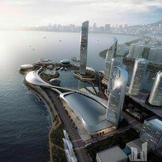 No photo description available. Architecture Visualization, City Architecture, Concept Architecture, Futuristic Architecture, Amazing Architecture, Future Buildings, Modern Buildings, City Buildings, Bridge Design