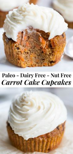 """These dreamy carrot cake cupcakes are made with coconut and tapioca flour and sweetened with maple syrup, making them both paleo and nut free. They're topped with a sweet creamy paleo vanilla """"buttercream"""" that tastes just like real thing! Köstliche Desserts, Gluten Free Desserts, Dairy Free Recipes, Baking Recipes, Delicious Desserts, Paleo Recipes, Paleo Meals, Mexican Desserts, Paleo Dessert"""