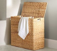 Perry Divided Hamper with Liners, Savannah Weave At Pottery Barn - Bath - Wastebaskets & Hampers