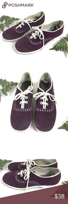 🦄 1960s purple suede saddle shoes VTG oxfords 🦄 cute 1960s purple suede lace up oxfords! the uppers have some minor scuffing on the inner toes and the soles are a bit dark from wear. the inner heel lining in peeling up a bit but can removed if it bothers you. overall good vintage condition with just a few cosmetic flaws!  LABEL: brand - AMF no size listed made in USA  *vintage sizes vary from todays, check measurements to ensure a good fit. estimated to fit an 8/8.5 best*  MEASUREMENTS…
