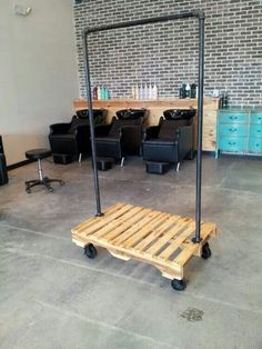 Just need help building it .Repurposed pallet and steel pipe coat rack Pipe Furniture, Pallet Furniture, Furniture Ideas, Repurposed Furniture, Furniture Stores, Custom Furniture, Pallet Projects, Home Projects, Pallet Ideas