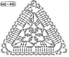 Crochet Triangle Pattern, Crochet Thread Patterns, Crochet Symbols, Crochet Diagram, Crochet Chart, Filet Crochet, Crochet Motif, Crochet Doilies, Crochet Bunting