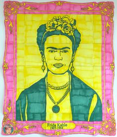 Frida Kahlo collaboration poster and more! Art projects for classroom teachers and art teachers.