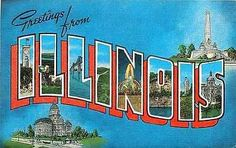 Illinois 1940s Large Letter Greetings from Illinois Antique Vintage Postcard