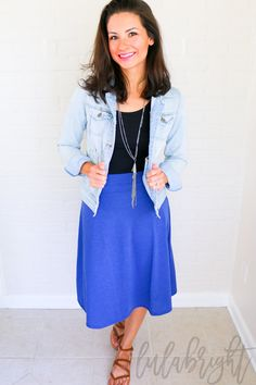 LuLaRoe Azure skirt styled with tank top, denim jacket, and long necklace. Love!