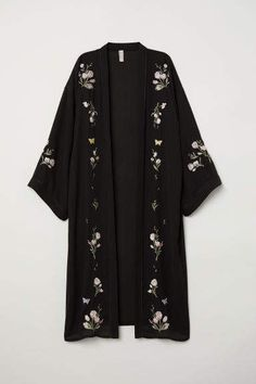 Kimono with Embroidery - Black/flowers - Ladies Abaya Fashion, Muslim Fashion, Kimono Fashion, Fashion Dresses, Tokyo Fashion, Fashion Fashion, Casual Hijab Outfit, Casual Outfits, Hijab Dress
