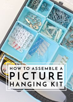Keep everything you need to hang art, pictures, and frames in one handy spot by creating a Picture Hanging Kit in an off-the-shelf art caddie! Home Organization Hacks, Organizing Tips, Bathroom Organization, Simple Pictures, Art Pictures, Diy Artwork, Diy Interior, Business For Kids, Hanging Art