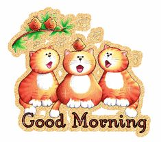 good morning animated glitter graphics | Glitter Text » Greetings » Good Morning~Cats