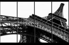 Tableau Quadriptyque XXL 160x100 cm - Tour Eiffel en Noir et Blanc
