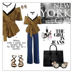 """""""The girl in jeans"""" by frenchfriesblackmg ❤ liked on Polyvore featuring Acler, Brewster Home Fashions, Sara Battaglia, Yves Saint Laurent, Melissa Joy Manning, Alice + Olivia and Chloé"""