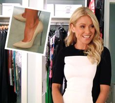 Kelly Ripa 7-17-12   Dress: Stella McCartney   Heels: Casadei.... To see Kelly's whole outfit, click here: http://dadt.com/live/fashion-finder.html #KellyandMichael #FashionFinder