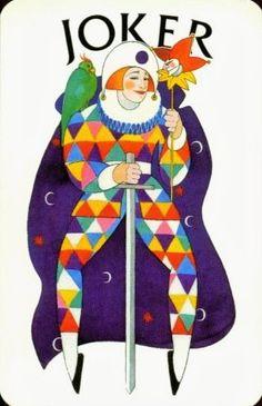 Offason Sweden designed by Ake Arenhill. Joker Playing Card, Joker Card, Playing Cards, Harlequin Pattern, Pierrot, Trump Card, Play Casino, Vintage Holiday, Illuminated Manuscript