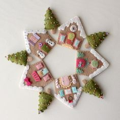 Gingerbread Houses/Christmas trees felt wreath....or could be made into ornaments...houses are all different...could be used for ornaments, as well...or gift tags...use your imagination