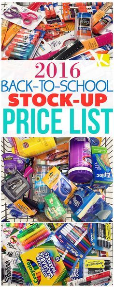 2016 Back-to-School Stock-Up Price List