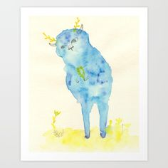 drawing  graphite  other  illustration   other  cartoon  watercolor,  monster   spoot  pencil  children  cute   blue  interior  postcard  yellow