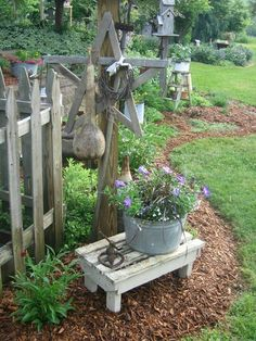 35 Decorating Garden Design Ideas With Pallet Garden Bench Gardens intended for 10 Garden Bench Decorating Ideas, Most of the Amazing and Interesting Garden Junk, Garden Cottage, Garden Art, Garden Design, Rustic Gardens, Outdoor Gardens, Pallet Garden Benches, Pallet Bench, Pallet Gardening