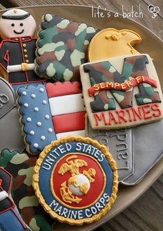 (said with cookies) Military Cupcakes, Military Cake, Military Mom, Iced Cookies, Royal Icing Cookies, Sugar Cookies, Marine Mom, Marine Cake, National Chocolate Cake Day