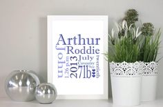 Personalised New Baby Word Art Frame - Name, Date of Birth, Time of Birth & Weight - Great Present for a new baby arrival
