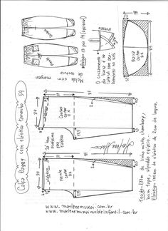 Calça baggy com elástico : Baggy trousers with elastic Sewing Pants, Sewing Clothes, Diy Clothes, Dress Sewing Patterns, Sewing Patterns Free, Clothing Patterns, Linen Pants Women, Pants For Women, Baggy Trousers