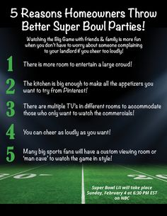 5 Reasons Homeowners Can Throw Better Super Bowl Parties! [INFOGRAPHIC]: Watching the big game at home with your friends & family offers… Real Estate Articles, Real Estate Information, Real Estate Tips, Selling Real Estate, Real Estate Investing, Real Estate Business, Real Estate Marketing, Home Buying Tips, Sell Your House Fast