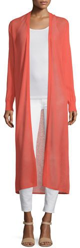 This gorgeous Neiman Marcus Cashmere Collection Open-Weave Long Duster will turn heads.