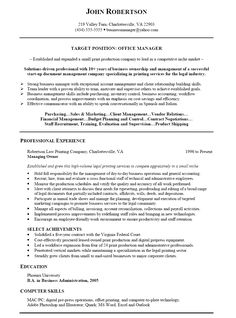 Resume Templates For Management Positions Diego Rey Rey4326 On Pinterest