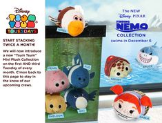 The Finding Nemo Tsum Tsum collection is swimming onto land on December 6th! Nigel, Pearl, Sheldon, Flo, Gill, Squirt, Darla, and Bruce.
