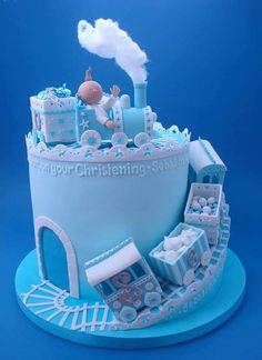 Boy Train Christening Cake - For all your cake decorating supplies, please visit… Fancy Cakes, Cute Cakes, Super Torte, Rodjendanske Torte, Christening Cake Boy, Torta Baby Shower, Boy Shower, Baby Boy Cakes, Gorgeous Cakes