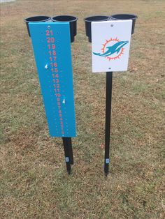 Miami Dolphins lawn game scorekeeper with beverage holders