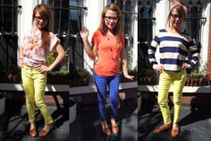 how to wear outfit yellow and blue jean