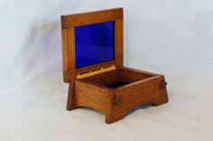 Quarter Sawn White Oak Wood Box w/Cobalt Blue by KevinKapinArtisan