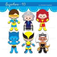 Superhero X PDF PNG Instant Download Printable Cliparts Clip Arts Digital File by clipartsuperstore on Etsy