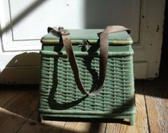 baskets, boxes,old luggage by Hawkeybeary on Etsy