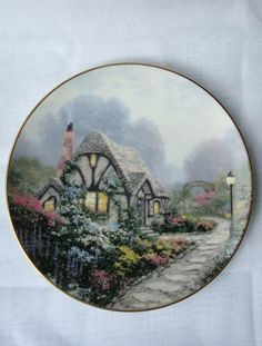 Chandler's Cottage by Thomas Kinkade Limited Edition Collector Plate by Edwin M Knowels 1991-