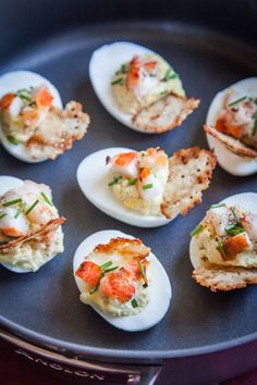 Lobster and Chives Deviled Eggs with Truffle Salt and Parmesan Crisp –
