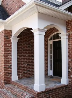 Beautiful decorative Architectural products and specialty millwork by Curb Appeal Products. Our products are made from superior materials and are built to last. Front Porch Posts, Front Porch Columns, House Columns, Front Porch Design, Front Porches, Classic House Exterior, Classic House Design, Portico Entry, Grill Door Design