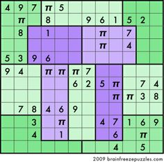 Happy Pi Day! (March 14 = 3.14) Celebrate by solving this special pi sudoku where each row, column, and region contains the digits 1-9 exactly once plus three π symbols.