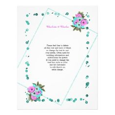 Cerise Pink Turquoise Elegant Flowers Letterhead - fancy gifts cool gift ideas unique special diy customize