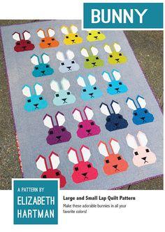 Bunny by Elizabeth Hartman Fresh & graphic patchwork bunny quilt pattern Quilt Baby, Lap Quilts, Small Quilts, Quilt Blocks, Mini Quilts, Elizabeth Hartman Quilts, Lap Quilt Patterns, Print Patterns, Barbie Vintage