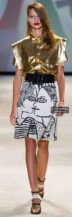 JC de Castelbajac Spring 2014 Collection. Gold glitter eyebrows and picasso-esque skirt? Yessss