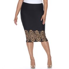 Plus Size White Mark Print Pencil Skirt ($52) ❤ liked on Polyvore featuring plus size women's fashion, plus size clothing, plus size skirts, brown, plus size, white pencil skirt, white skirt, above the knee skirts and plus size brown skirt