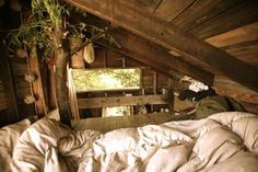 use that attic space up!!! put in windows, and a boatload of fluffy blankets, and you've got yourself a warm, cozy hideout. <3