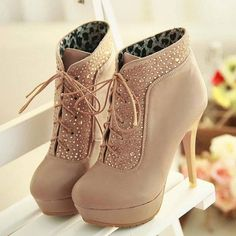 High Heels Boots with Rhinestone at ILoveCuteShoes.com