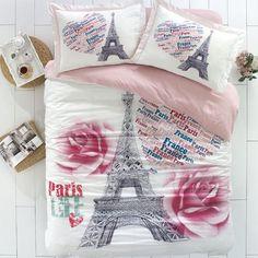 Found it at Wayfair - City Sleep 4 Piece Duvet Cover Set Paris Bedding, Paris Bedroom, Teen Bedding, Paris Themed Bedding, Dream Bedroom, Master Bedroom, Twin Quilt Size, Queen Size Quilt, Bed Duvet Covers
