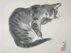 Cat - Morning Wash - by Rebeca Yue, ( 1946 - 2012), England
