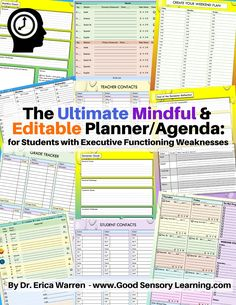 Learning Specialist and Teacher Materials - Good Sensory Learning: Creating the Ultimate Student Planner: Executive Functioning Success