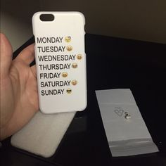 HP2/10/16SOLD in bundle! Funny Cover iPhone6 SOLD in bundle !!!!Cover for iPhone 6/6S , white with all week's days And 1 emoji for each one . Togheter come also the top for headphones . Last price. I offer bundle for 3 or more items . Thank You And happy shopping !!!! Accessories Phone Cases